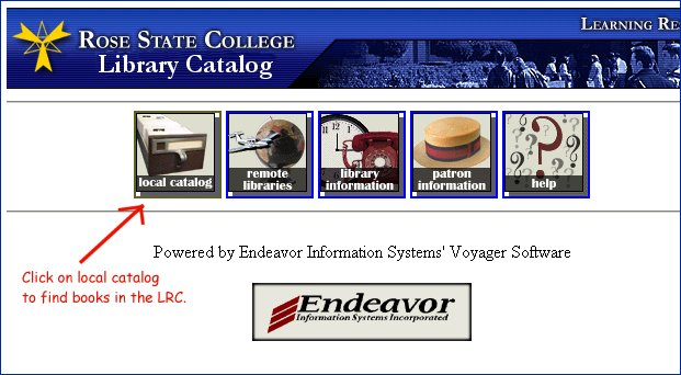 Entry Screen for the library catalog.  Click on Local Catalog to search.