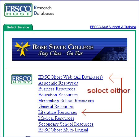 the entry screen to Ebsco (Magill is at the bottom)