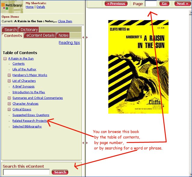 The book in netlibrary. You can browse it by the table of contents, by the search box or page by page.